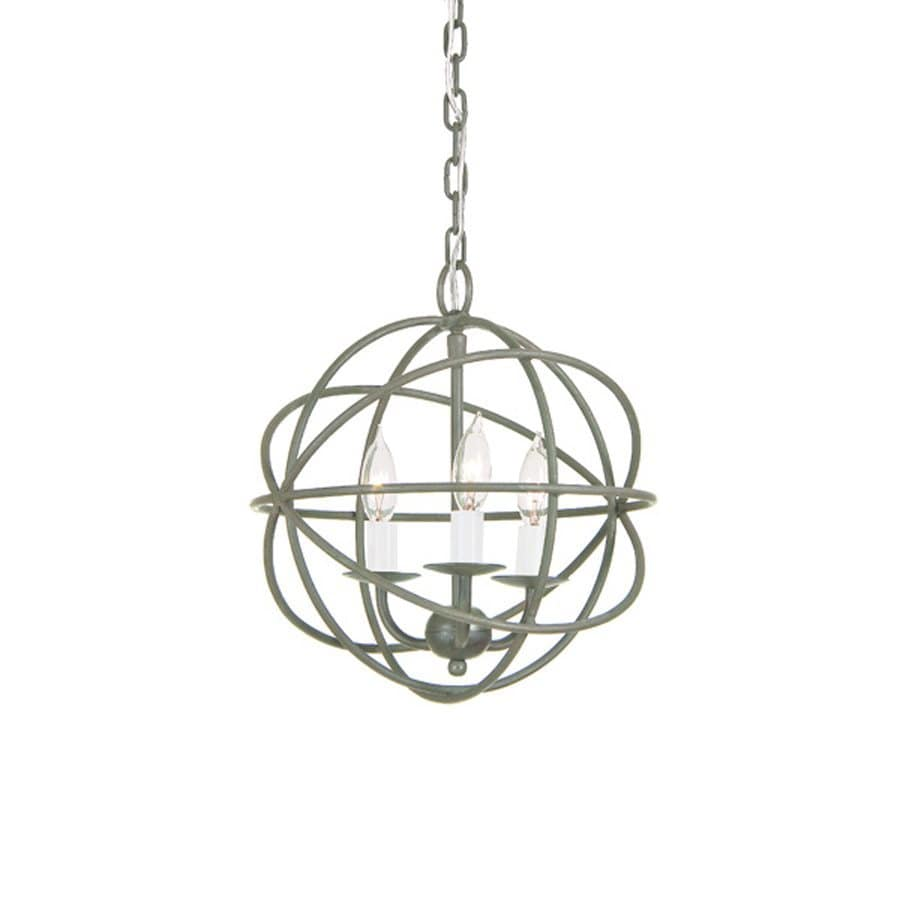 JVI Designs 12-in 3-Light Aged silver Vintage Globe Chandelier