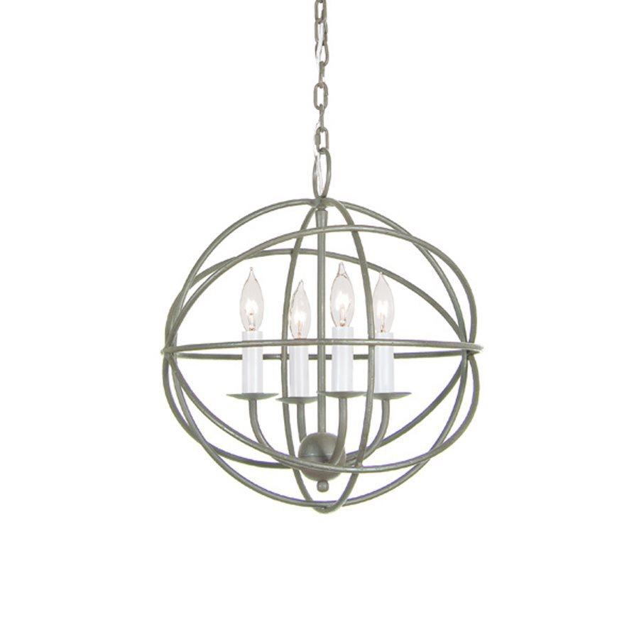 JVI Designs 15-in 4-Light Aged silver Vintage Globe Chandelier