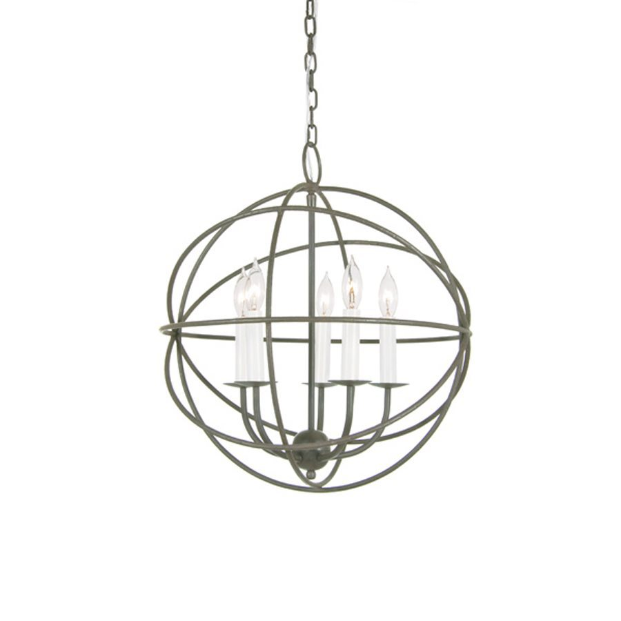JVI Designs 18-in 5-Light Aged Silver Vintage Globe Chandelier