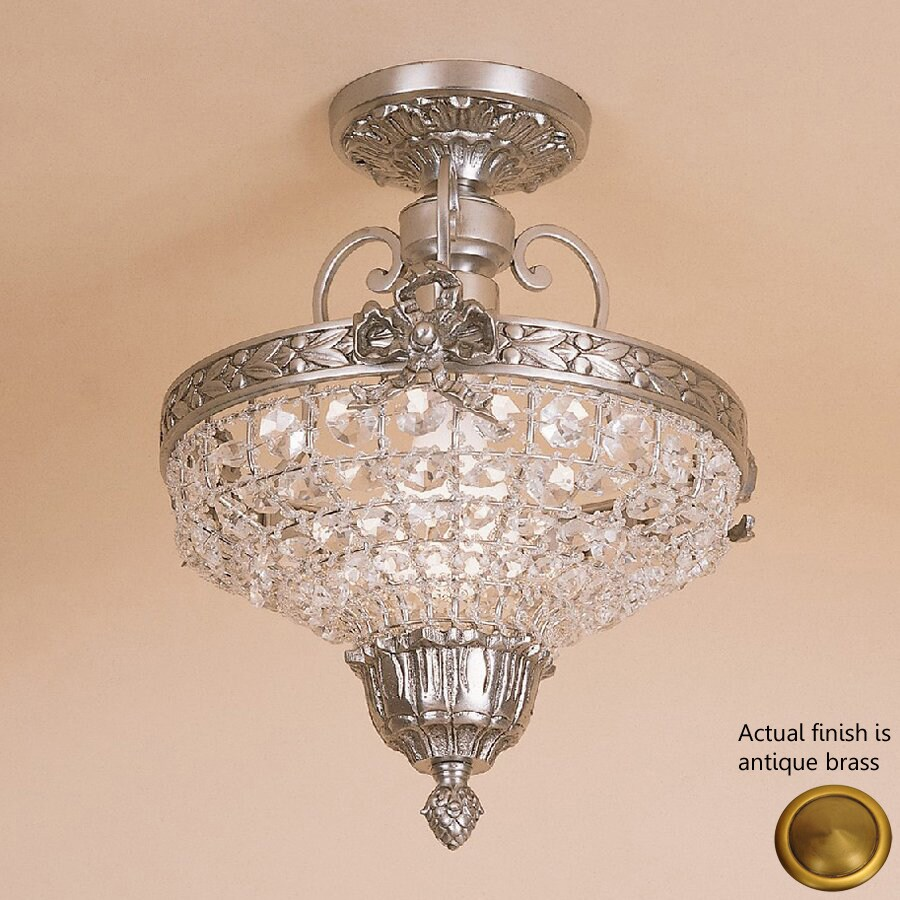 JVI Designs Danbury 10.25-in W Antique Brass Clear Glass Crystal Accent Semi-Flush Mount Light