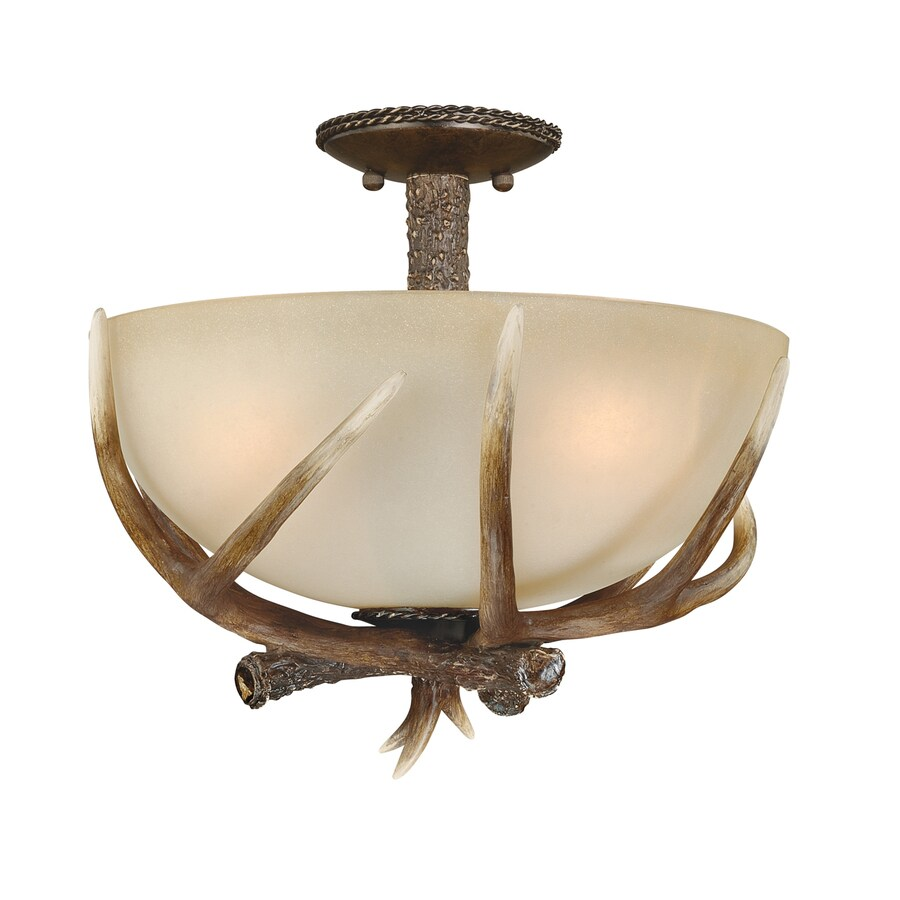 Cascadia Yoho 16.875-in W Black Walnut Tea-Stained Glass Rustic/Lodge Semi-Flush Mount Light