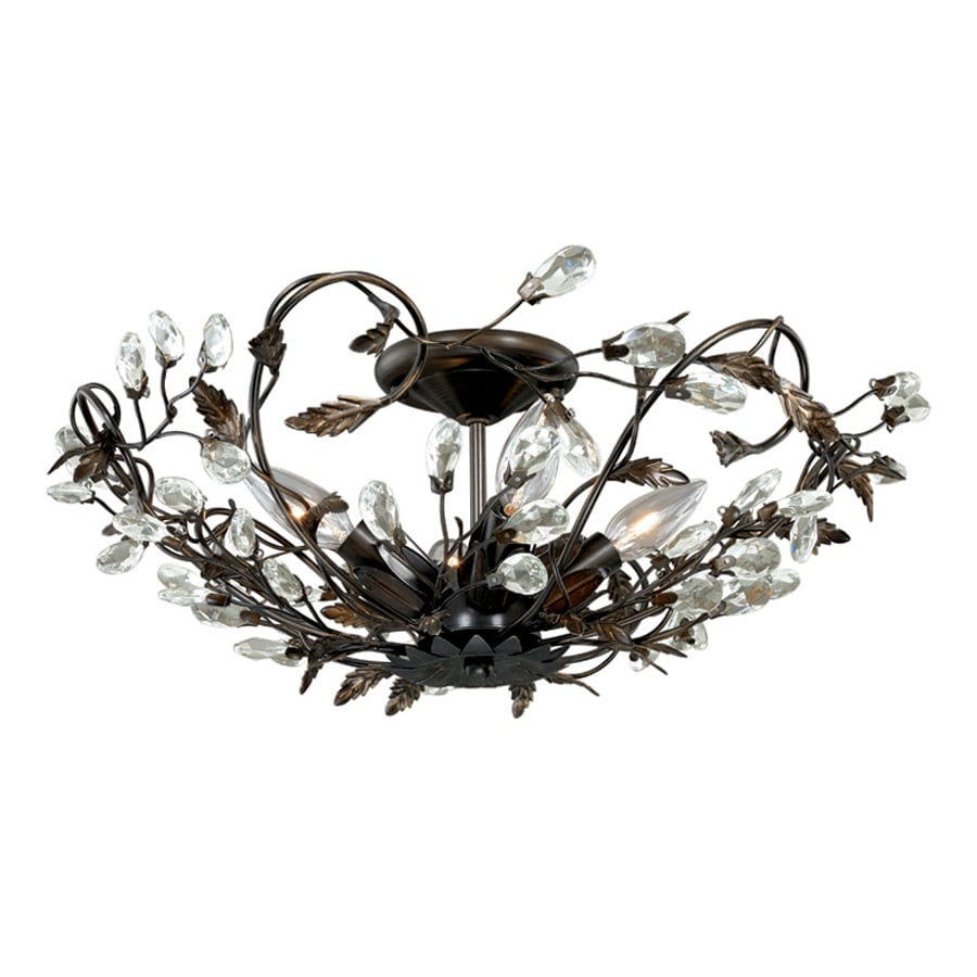 Cascadia Jardin 19-in W Architectural Bronze Shades Crystal Accent Semi-Flush Mount Light