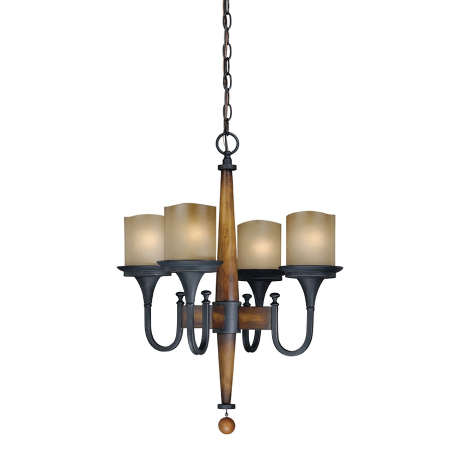 Cascadia Meritage 20-in 4-Light Charred wood/black iron Rustic Tinted Glass Shaded Chandelier