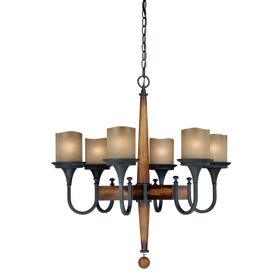 Cascadia Meritage 28-in 6-Light Charred wood/black iron Rustic Tinted Glass Shaded Chandelier