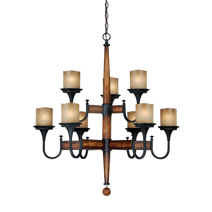 Cascadia Meritage 35-in 9-Light Charred wood/black iron Rustic Tinted Glass Tiered Chandelier