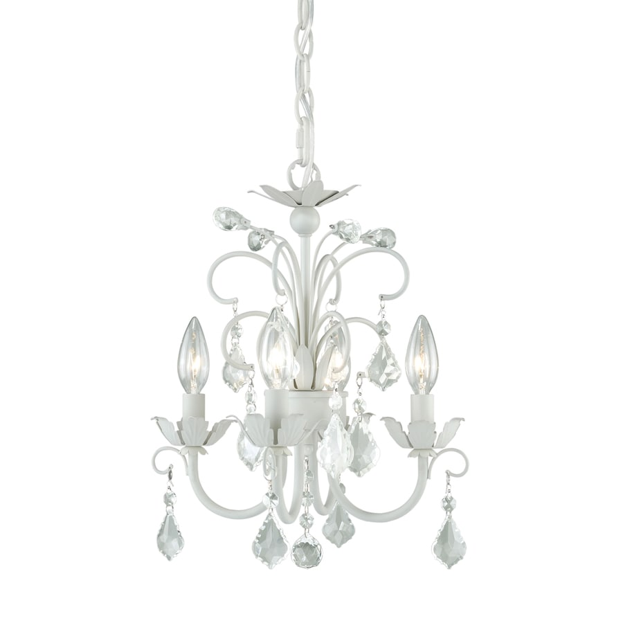 Cascadia Ellie 12.75-in 4-Light Satin white Candle Chandelier