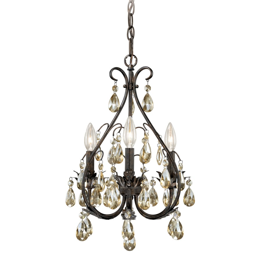 Cascadia Alicia 13-in 3-Light Gold flake bronze Candle Chandelier