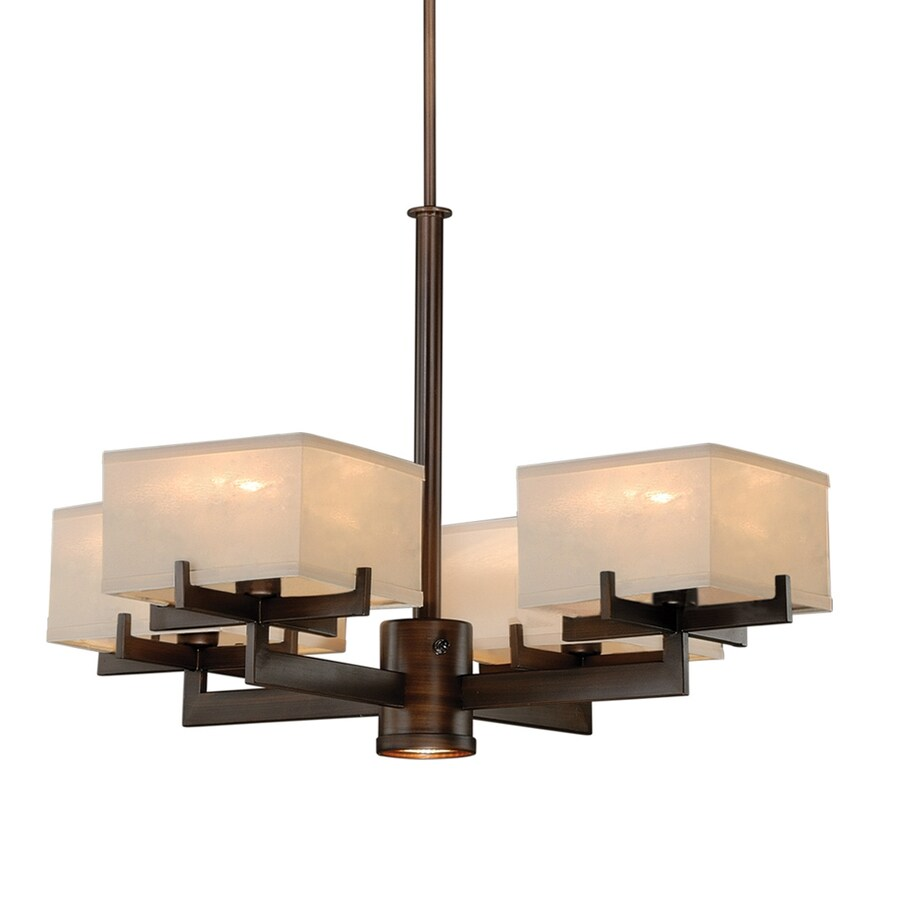 Cascadia Canvas 28.375-in 5-Light Venetian Bronze Shaded Chandelier
