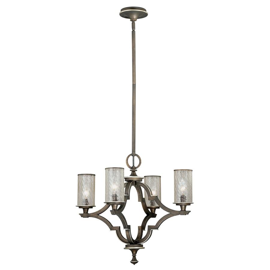 Cascadia Simone 25.75-in 4-Light Venetian Bronze Mediterranean Textured Glass Candle Chandelier