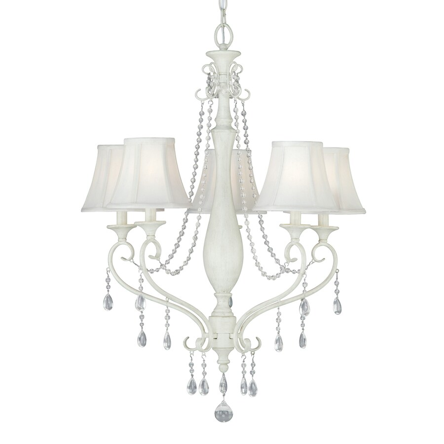 Cascadia Bristol 25-in 5-Light Antique Ivory Country Cottage Shaded Chandelier