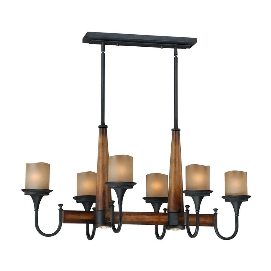 Cascadia Meritage 23.25-in W 8-Light Charred Wood/Black Iron Kitchen Island Light with Tinted Shade