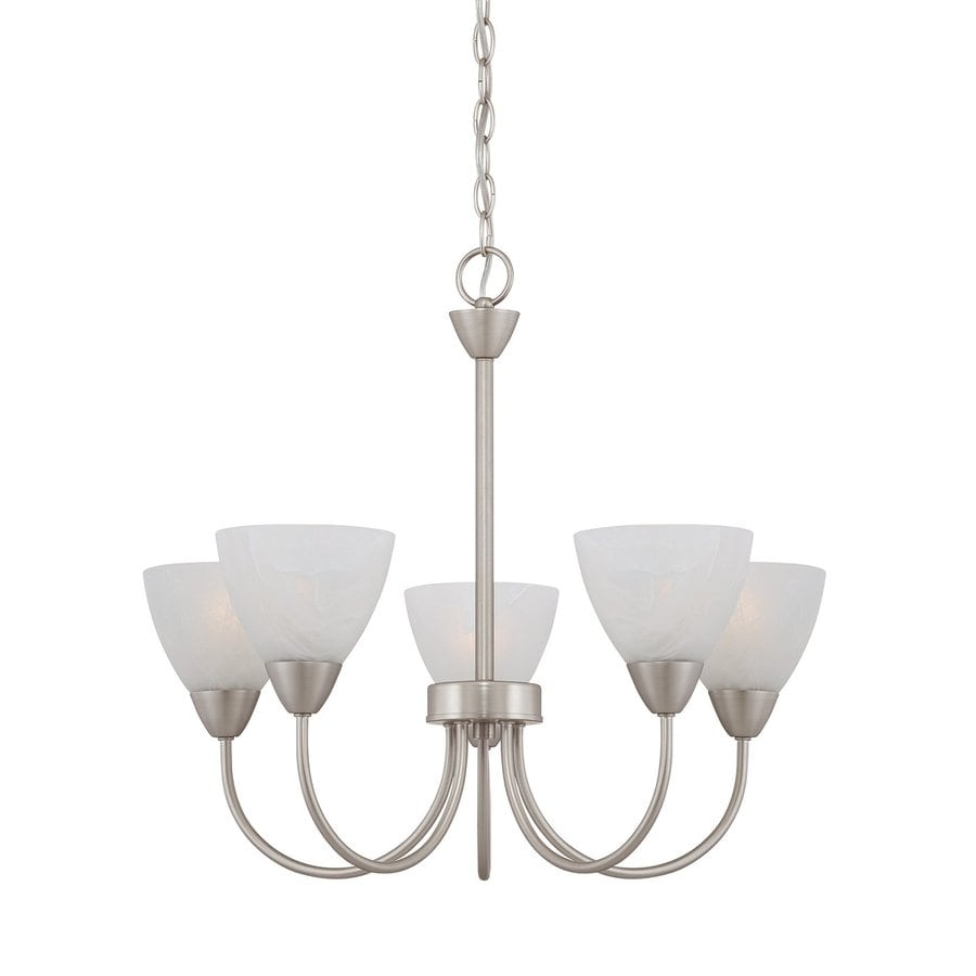 Thomas Lighting Tia 22.5-in 5-Light Matte Nickel Marbleized Glass Shaded Chandelier