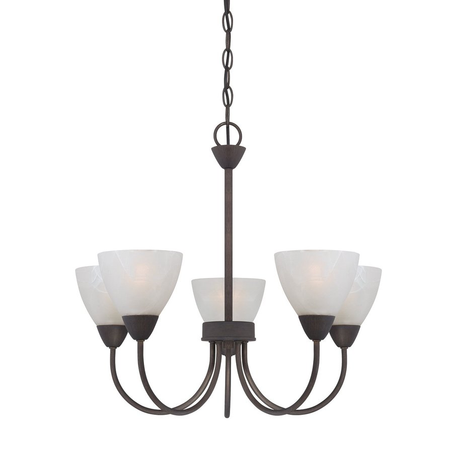 Thomas Lighting Tia 22.5-in 5-Light Painted Bronze Marbleized Glass Shaded Chandelier