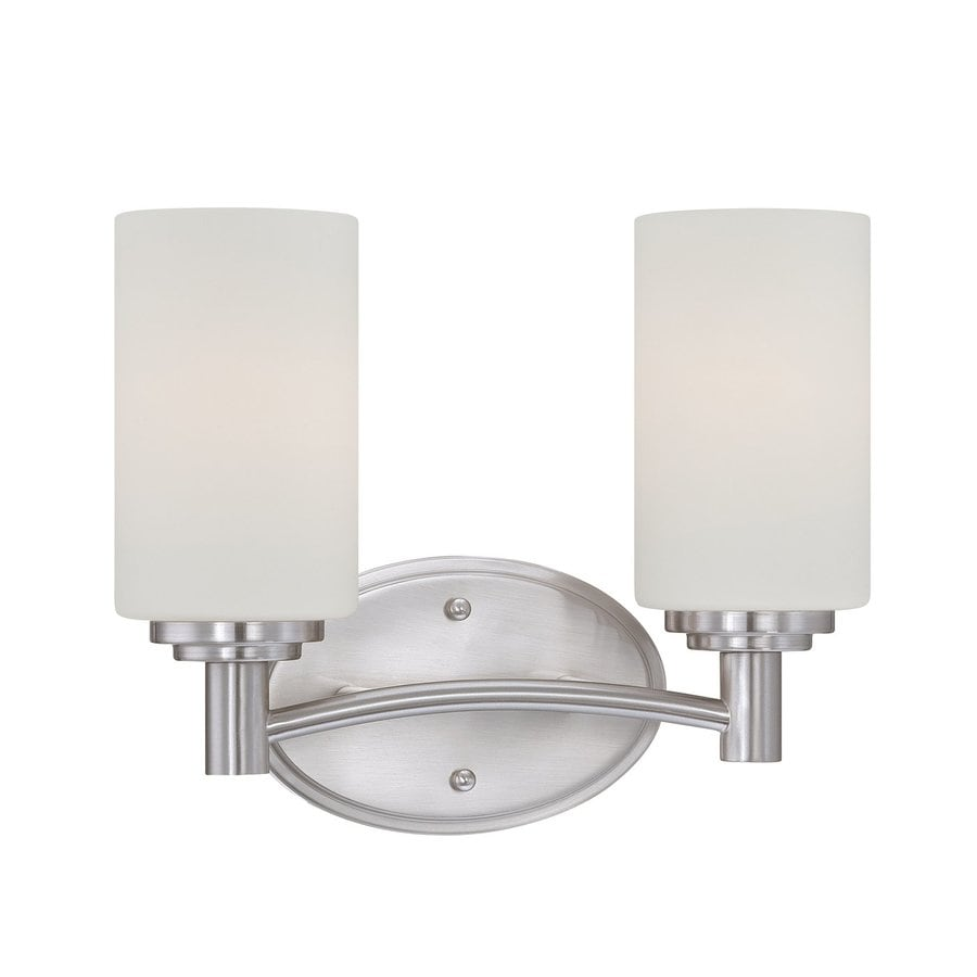 Thomas Lighting Pittman 2-Light 9.75-in Brushed Nickel Cylinder Vanity Light