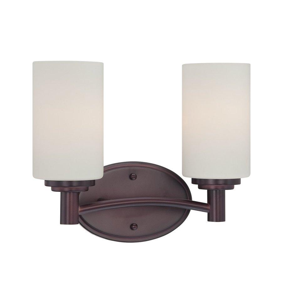 Thomas Lighting Pittman 2-Light 9.75-in Sienna Bronze Cylinder Vanity Light