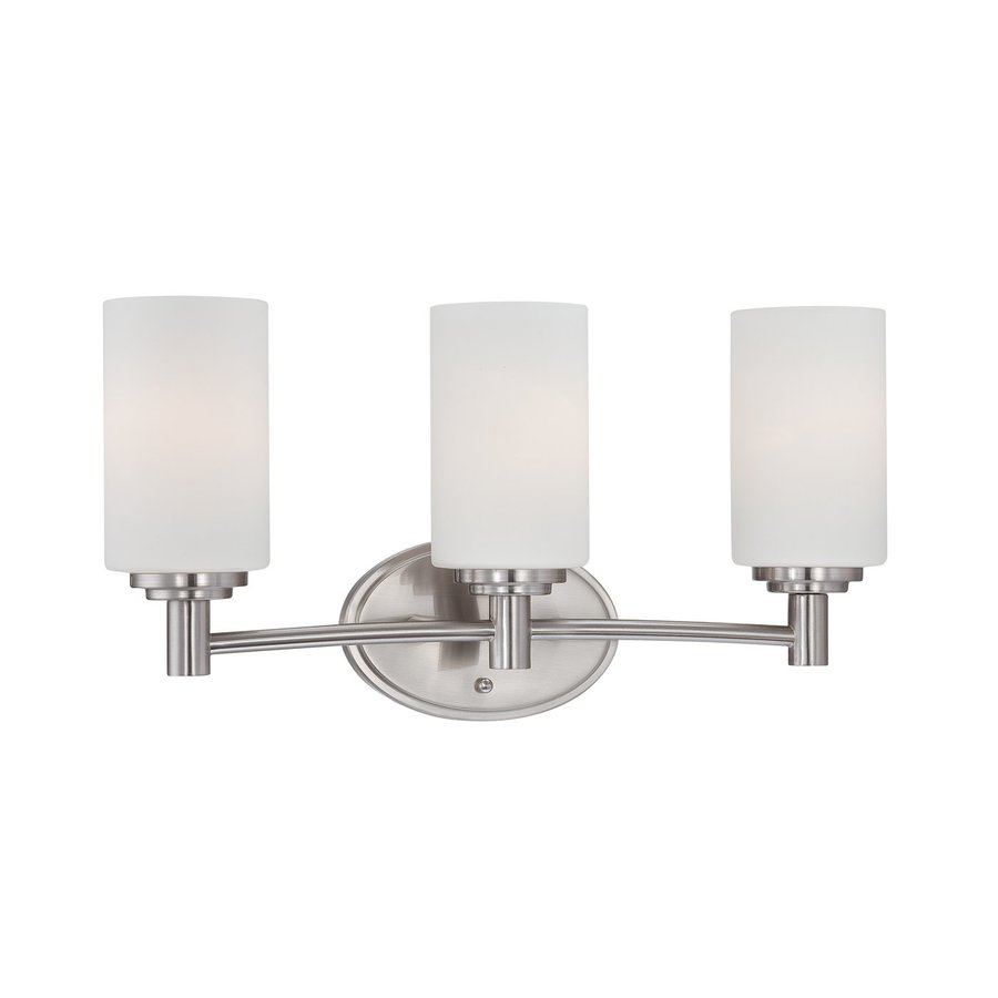 Thomas Lighting Pittman 3-Light 9.75-in Brushed Nickel Cylinder Vanity Light