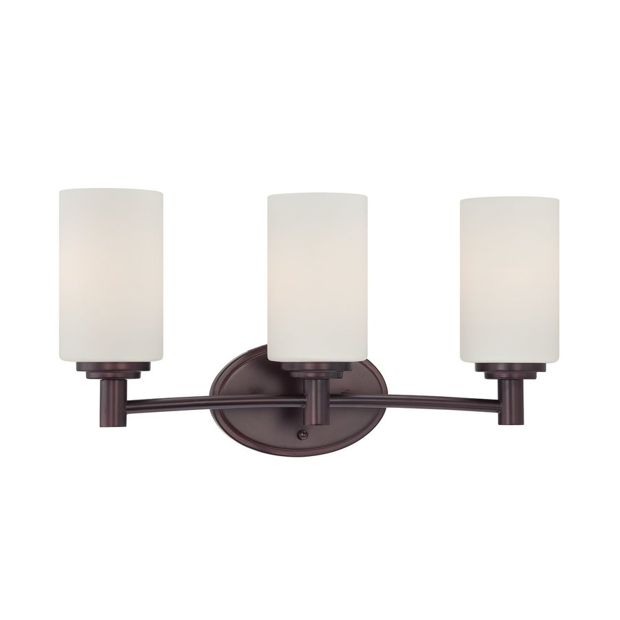 Thomas Lighting Pittman 3-Light 9.75-in Sienna Bronze Cylinder Vanity Light