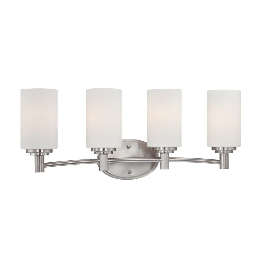 Thomas Lighting Pittman 4-Light 9.75-in Brushed Nickel Cylinder Vanity Light
