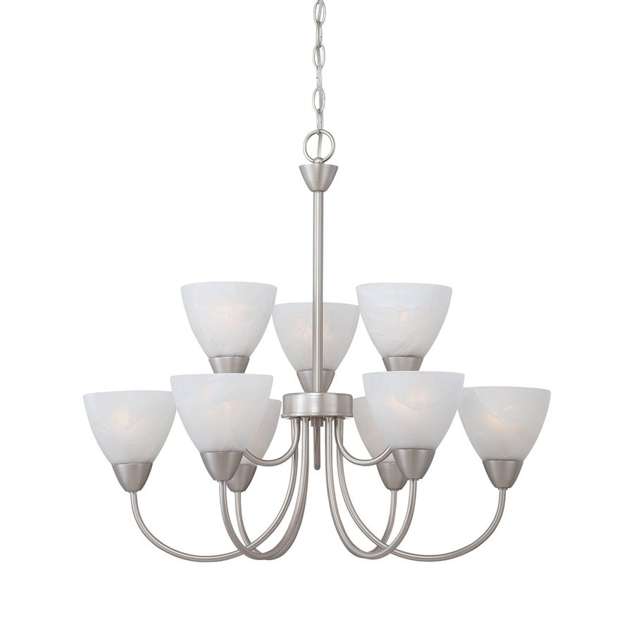 Thomas Lighting Tia 26-in 9-Light Matte Nickel Marbleized Glass Tiered Chandelier