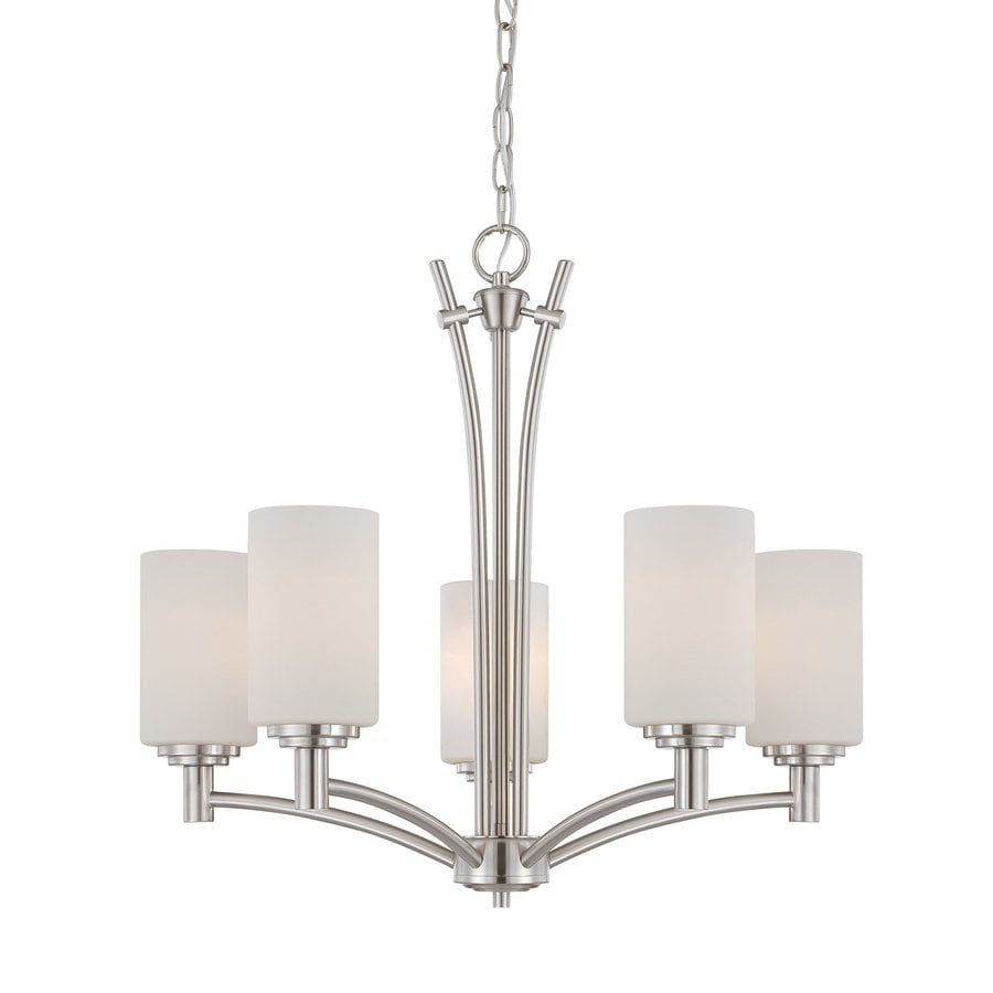 Thomas Lighting Pittman 24-in 5-Light Brushed Nickel Shaded Chandelier