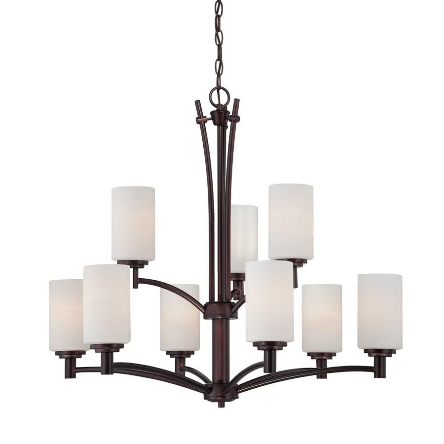 Thomas Lighting Pittman 31-in 9-Light Sienna bronze Tiered Chandelier