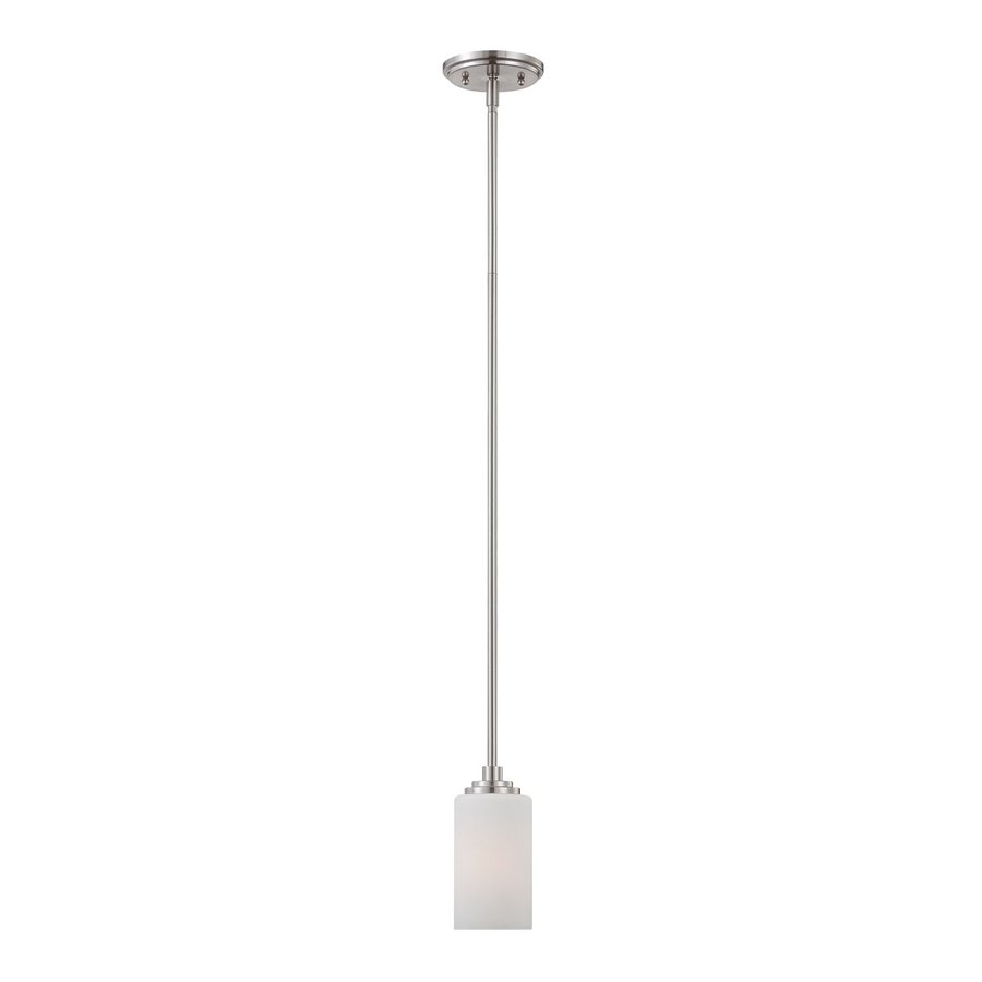 Thomas Lighting Pittman 5-in Brushed Nickel Mini Cylinder Pendant