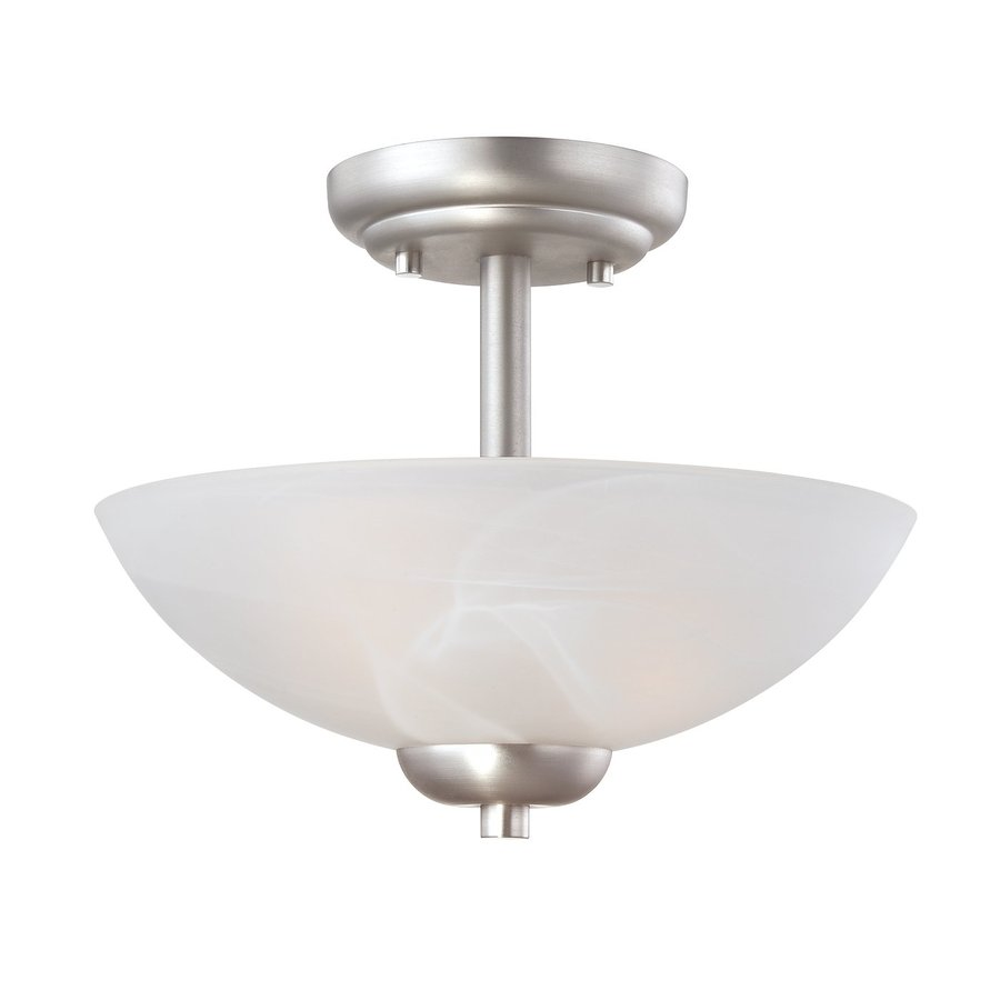 Thomas Lighting Tia 11.75-in W Matte Nickel Etched Glass Semi-Flush Mount Light