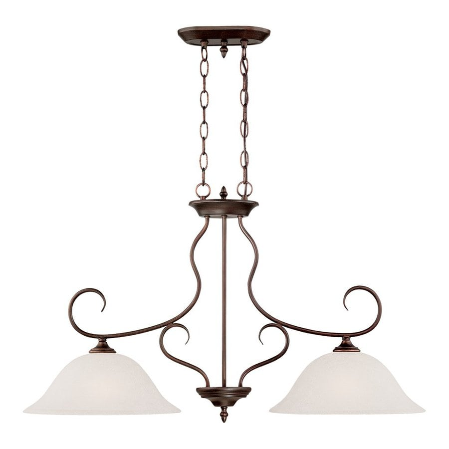 Millennium Lighting Cleveland 19.13-in W 2-Light Rubbed Bronze Kitchen Island Light with Frosted Shade
