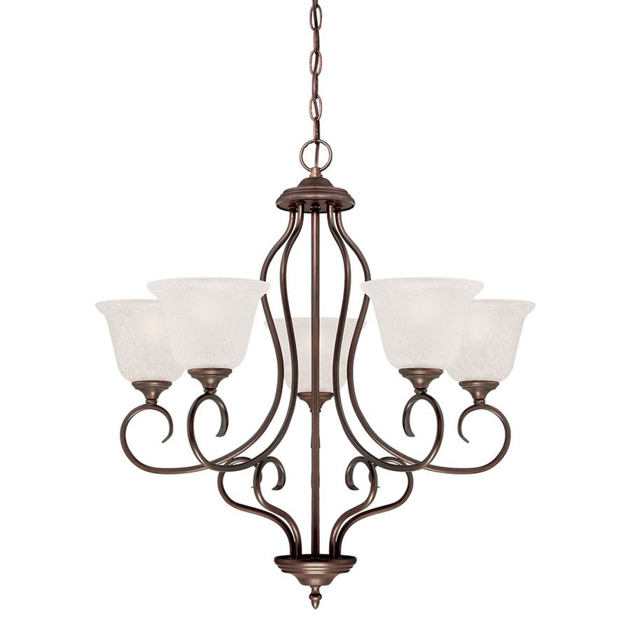 Millennium Lighting Cleveland 27.25-in 5-Light Rubbed Bronze Scavo Glass Shaded Chandelier