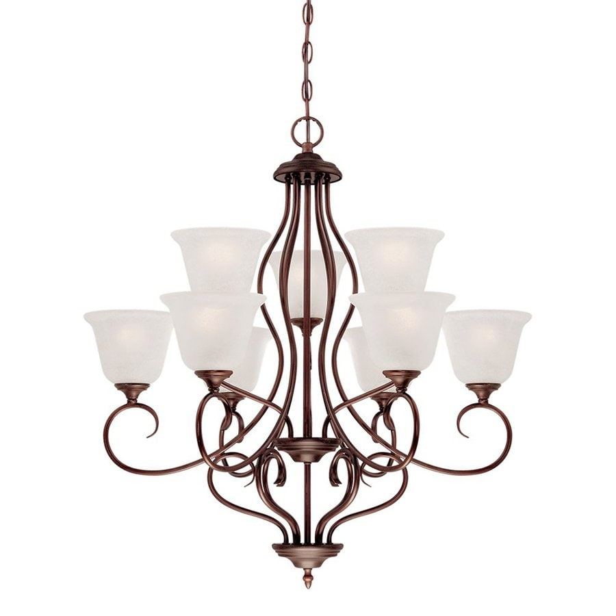 Millennium Lighting Cleveland 31.25-in 9-Light Rubbed Bronze Scavo Glass Tiered Chandelier
