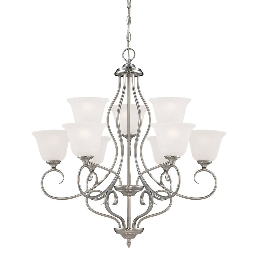 Millennium Lighting Cleveland 31.25-in 9-Light Satin Nickel Scavo Glass Tiered Chandelier
