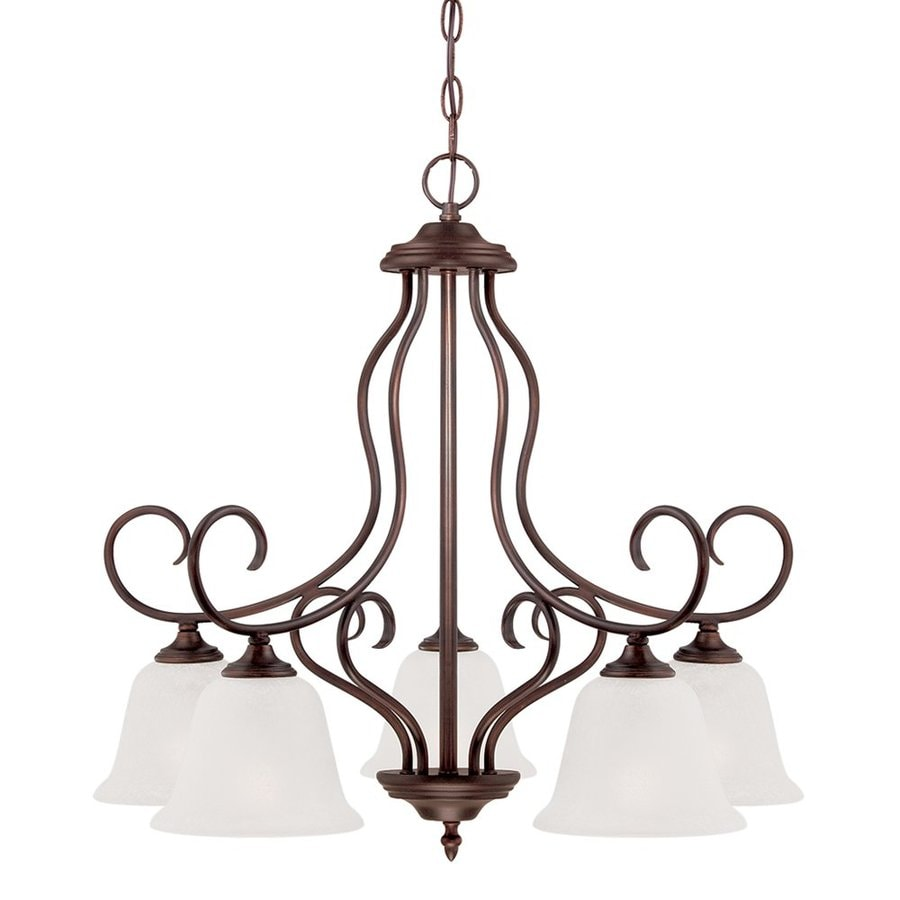 Millennium Lighting Cleveland 23.63-in 5-Light Rubbed Bronze Scavo Glass Shaded Chandelier