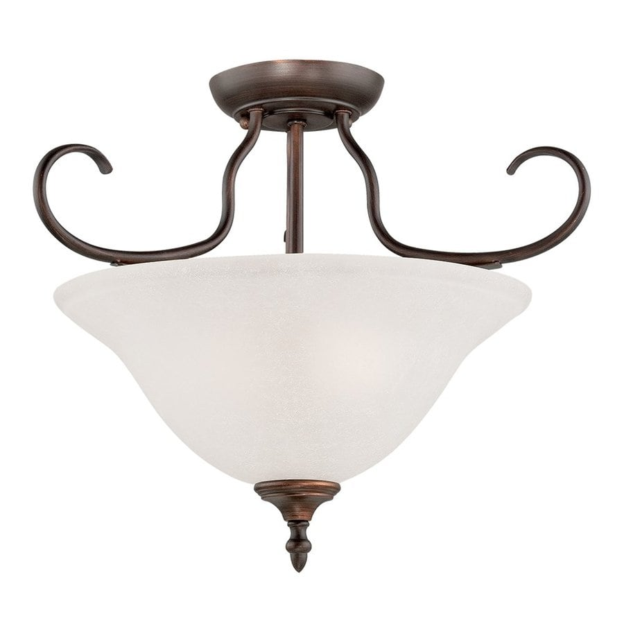 Millennium Lighting Cleveland 11-in W Rubbed bronze Frosted Glass Semi-Flush Mount Light