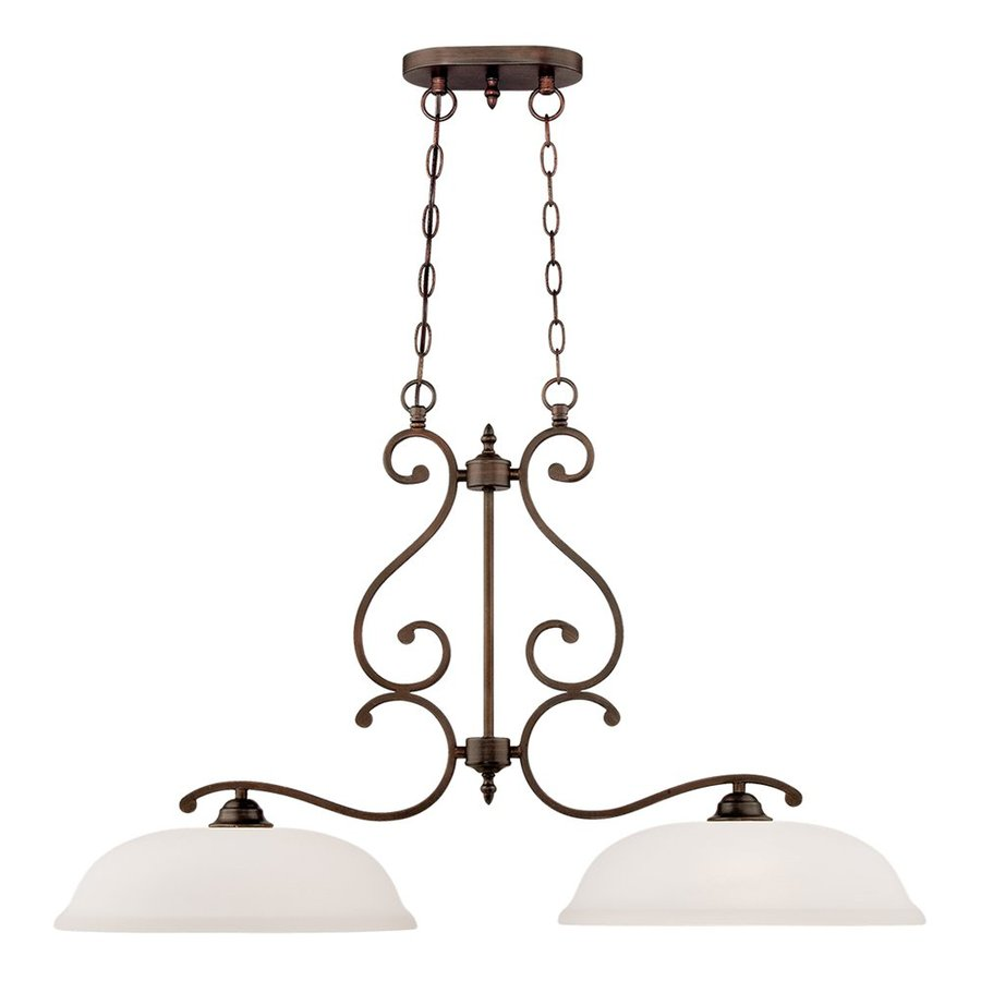 Millennium Lighting Courtney Lakes 37-in W 2-Light Rubbed Bronze Kitchen Island Light with Frosted Shade