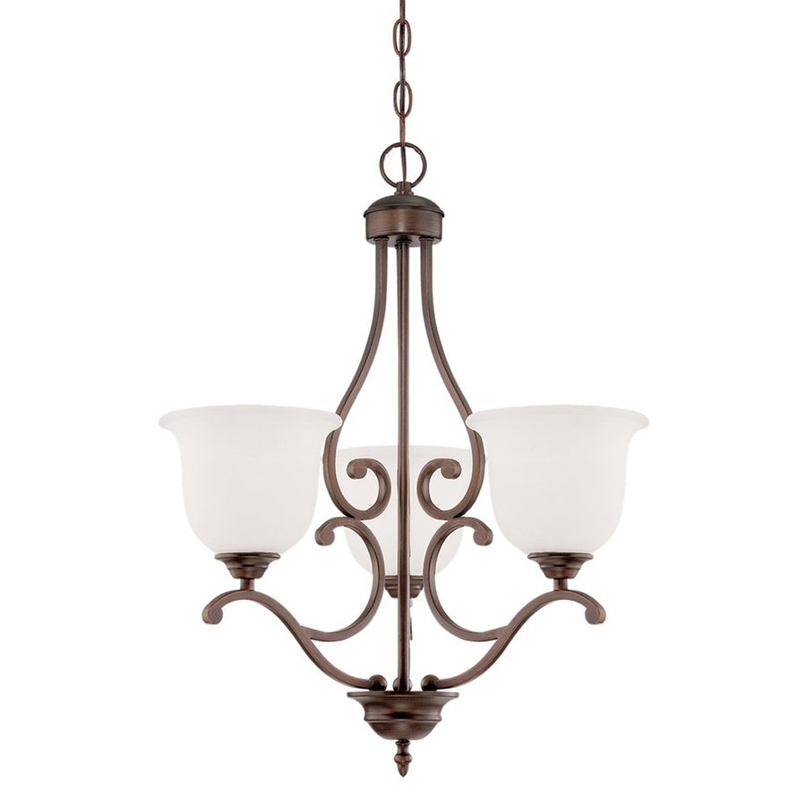 Millennium Lighting Courtney Lakes 20-in 3-Light Rubbed Bronze Etched Glass Shaded Chandelier