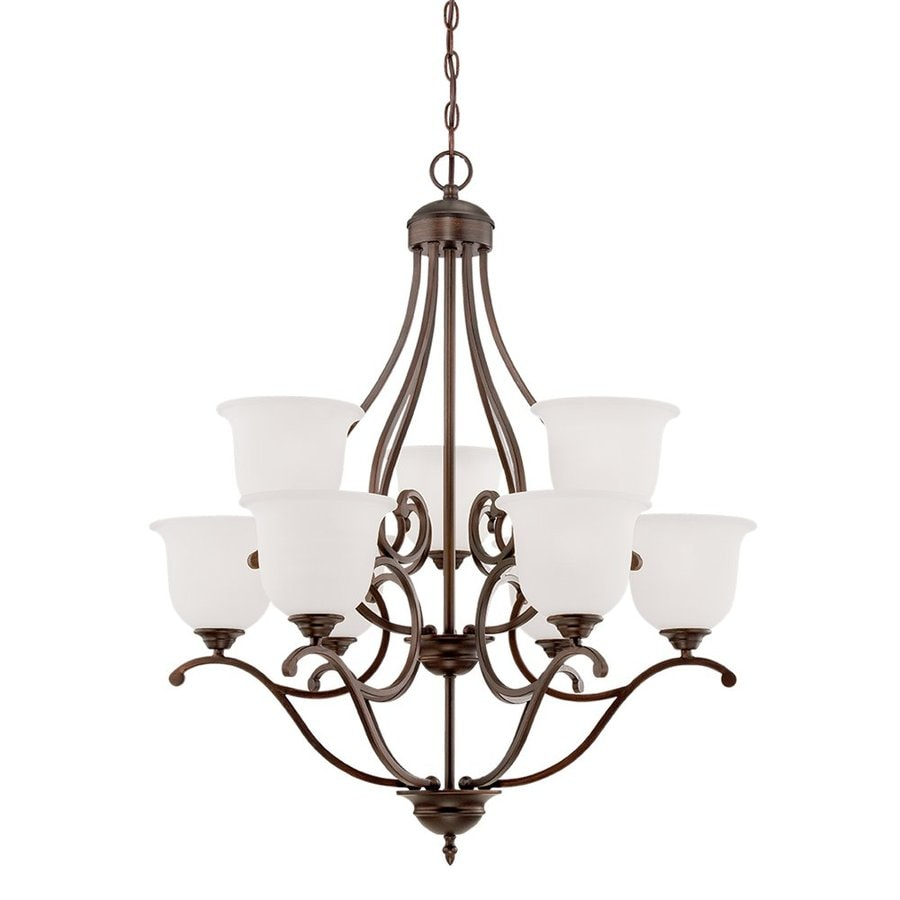 Millennium Lighting Courtney Lakes 30-in 9-Light Rubbed bronze Etched Glass Shaded Chandelier