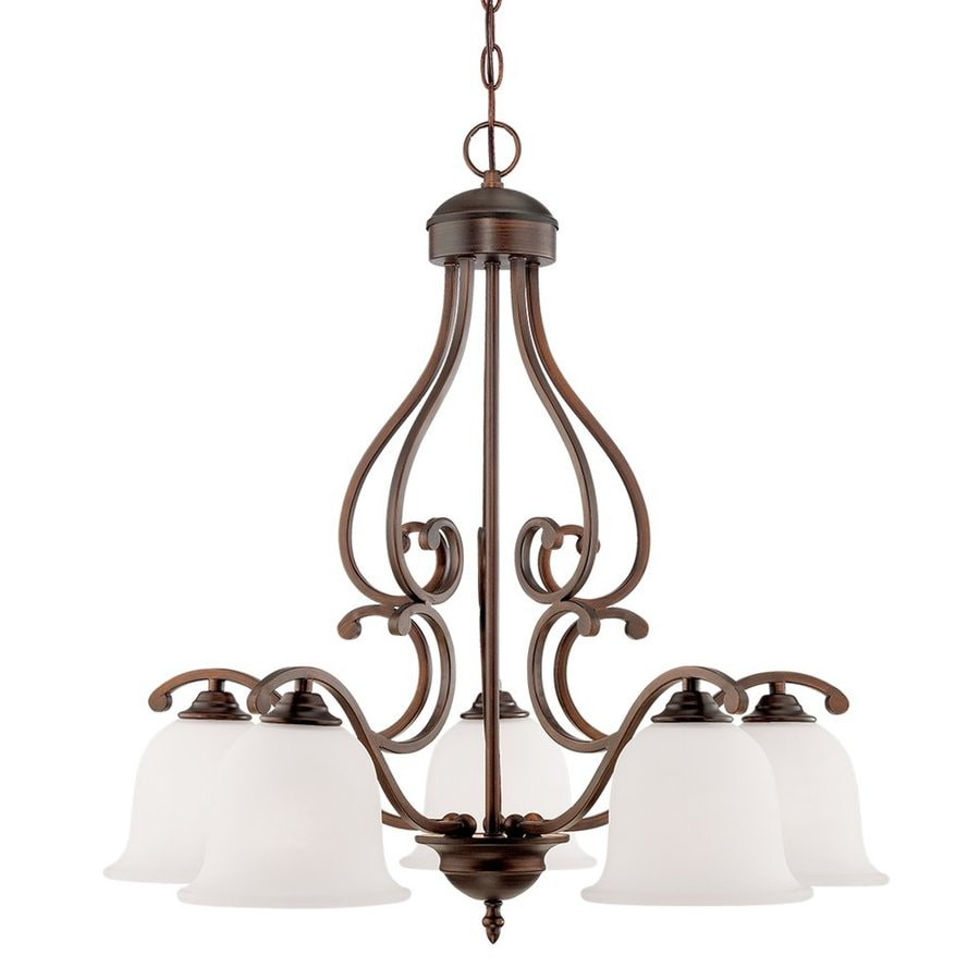 Millennium Lighting Courtney Lakes 27-in 5-Light Rubbed Bronze Etched Glass Shaded Chandelier