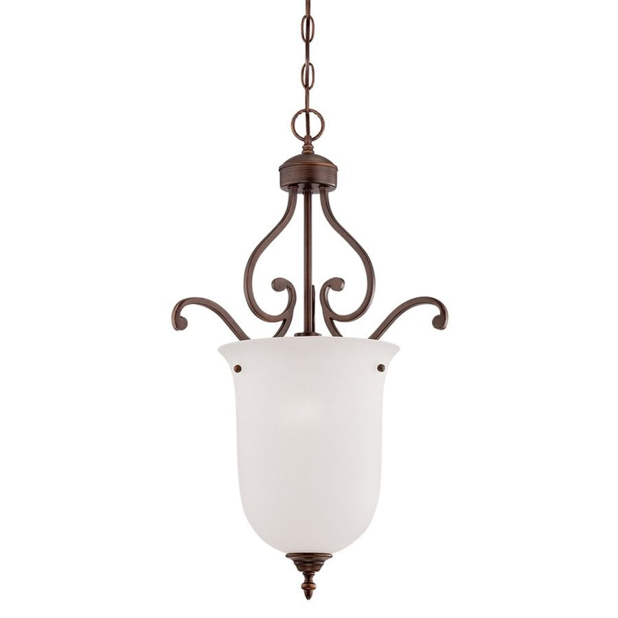 Millennium Lighting Courtney Lakes 16-in Rubbed Bronze Vintage Single Etched Glass Urn Pendant