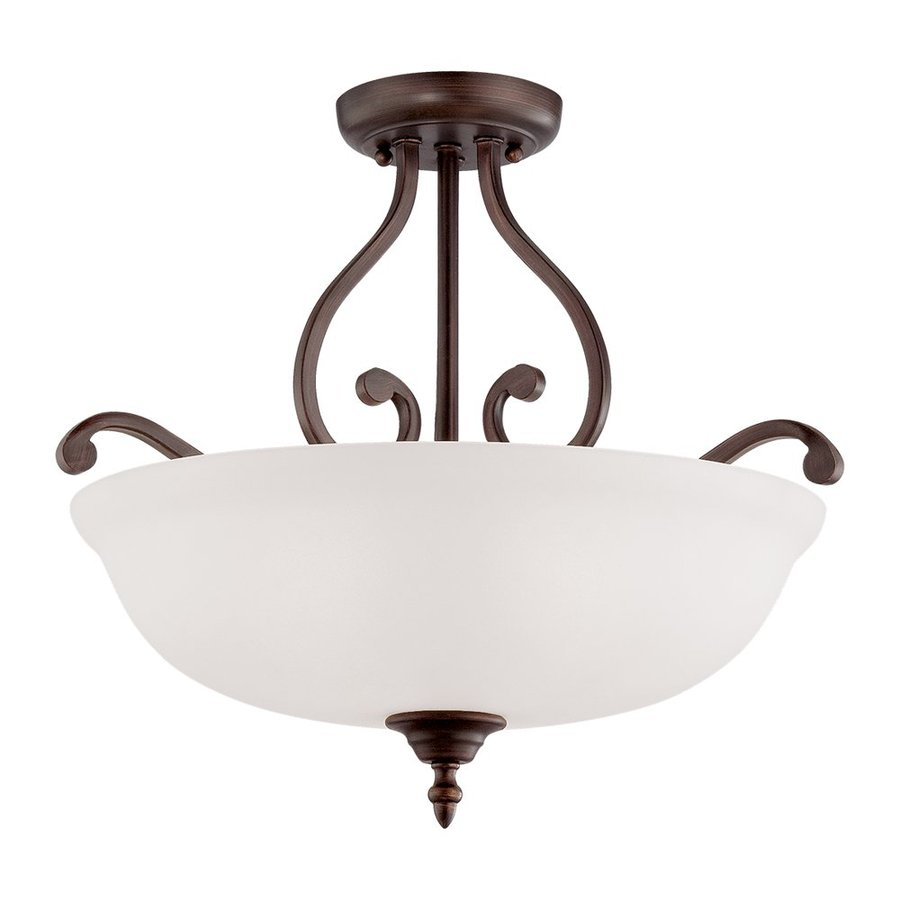 Millennium Lighting Courtney Lakes 18-in W Rubbed bronze Frosted Glass Semi-Flush Mount Light
