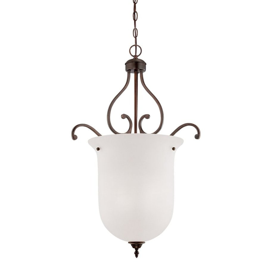 Millennium Lighting Courtney Lakes 21-in Rubbed Bronze Vintage Single Etched Glass Urn Pendant