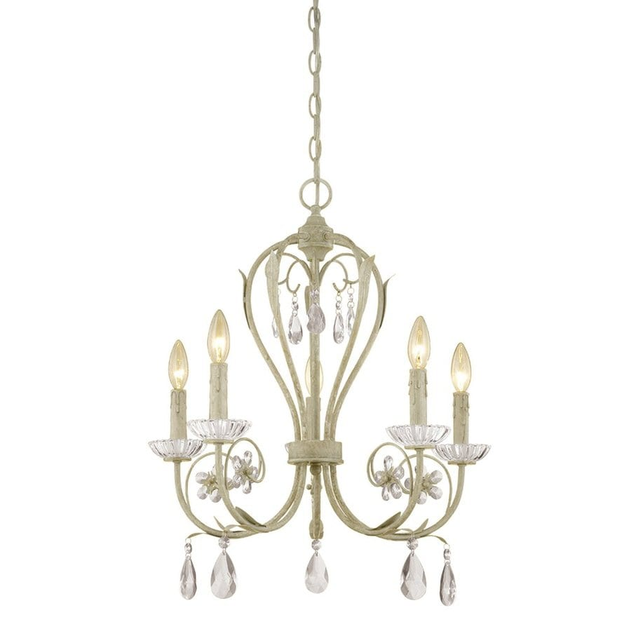 Millennium Lighting Clara 21.5-in 5-Light Antique White Vintage Candle Chandelier
