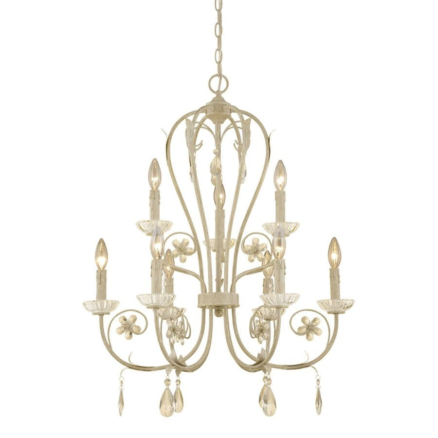 Millennium Lighting Clara 25.5-in 9-Light Antique white Vintage Tiered Chandelier