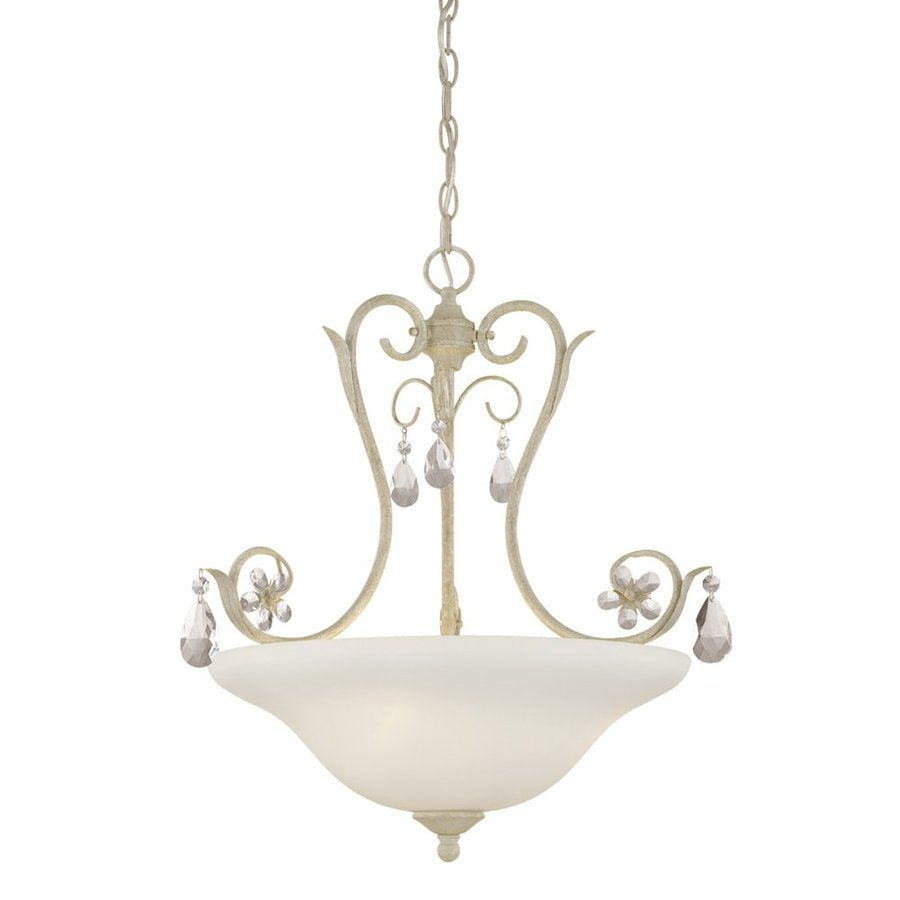 Millennium Lighting Clara 23.5-in Antique White Vintage Single Etched Glass Bowl Pendant