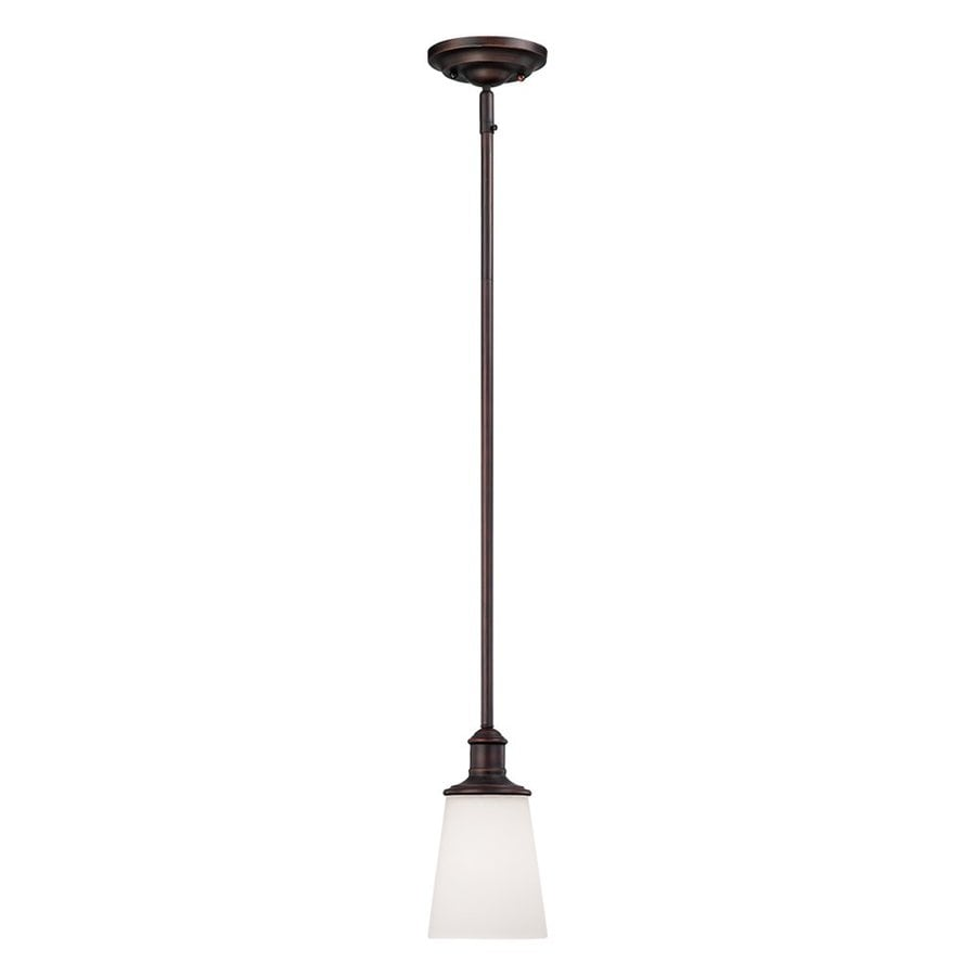 Millennium Lighting Cimmaron 4.75-in Bronze Mini Etched Glass Bell Pendant