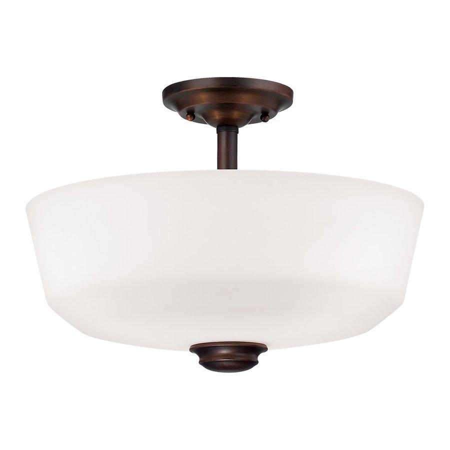 Millennium Lighting Cimmaron 14.5-in W Rubbed Bronze Frosted Glass Semi-Flush Mount Light