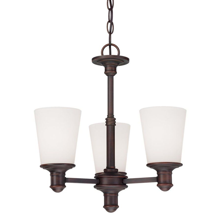Millennium Lighting Cimmaron 17-in 3-Light Rubbed Bronze Etched Glass Shaded Chandelier