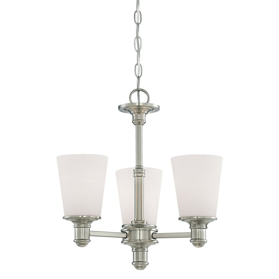 Millennium Lighting Cimmaron 17-in 3-Light Satin Nickel Etched Glass Shaded Chandelier
