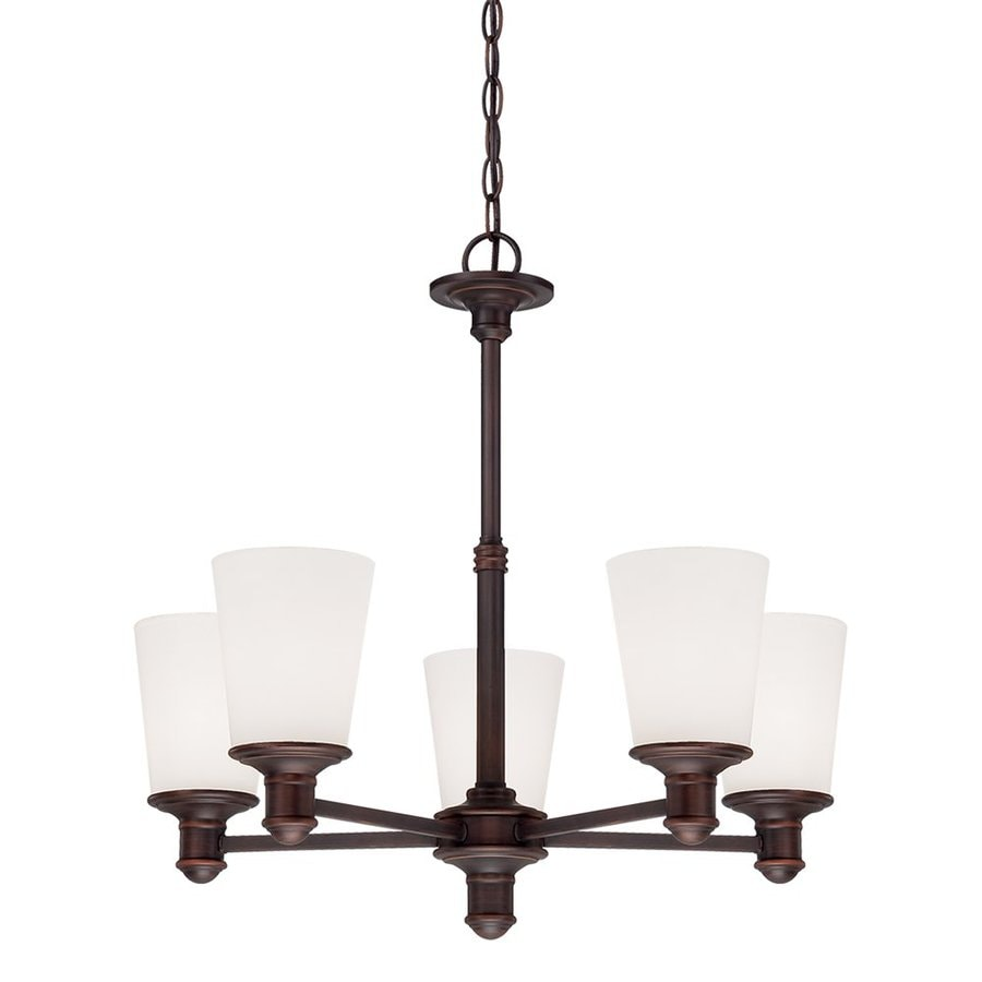 Millennium Lighting Cimmaron 24-in 5-Light Rubbed Bronze Etched Glass Shaded Chandelier
