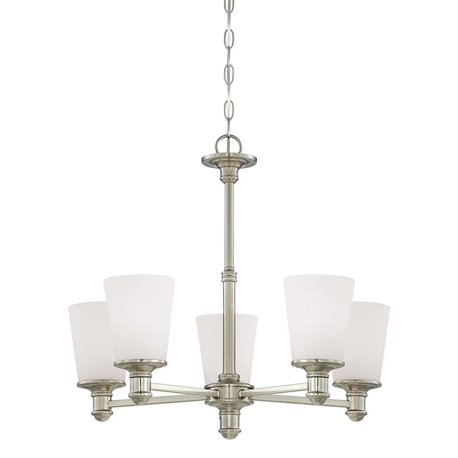 Millennium Lighting Cimmaron 24-in 5-Light Satin Nickel Etched Glass Shaded Chandelier