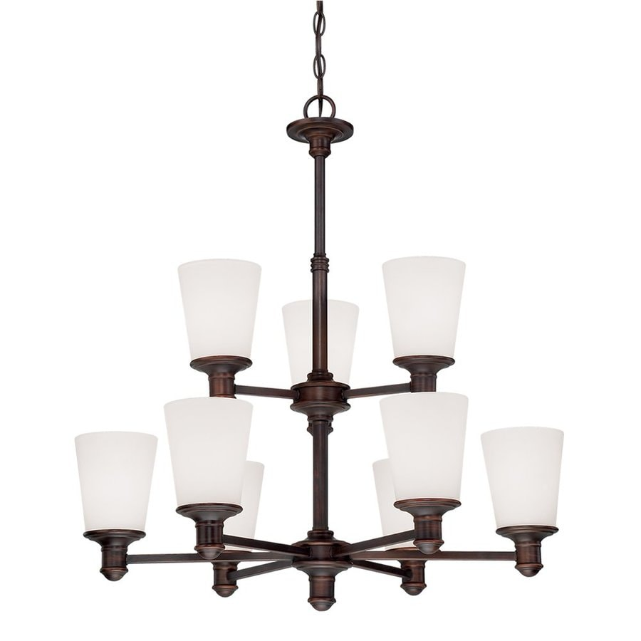 Millennium Lighting Cimmaron 28.5-in 9-Light Rubbed Bronze Etched Glass Tiered Chandelier